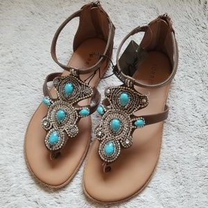 Torrid T-strap sandals size 9W turquoise bling